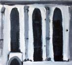 Krumlov,2006, 19x21 cm, akryl na dřevě
