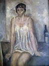 Sedící žena, olej/plátno, 125×100 cm, 1965