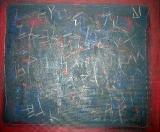 Z cyklu Labyrint písma, olej/plátno, 100×120 cm, 1991