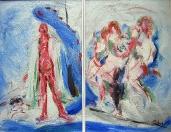 Malíř a modelky, olej/plátno, 100×130 cm, 1998
