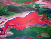 Ležící, olej/plátno, 93×115 cm, 2000
